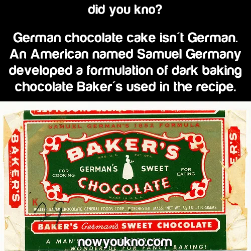 German Chocolate Cake isn't German