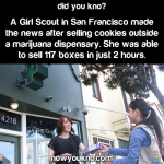 Girl Scout sells cookies outside marijuana dispensary
