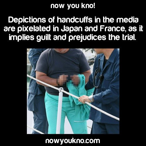 Why handcuffs are blurred in Japan