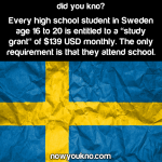Students in Sweden get paid