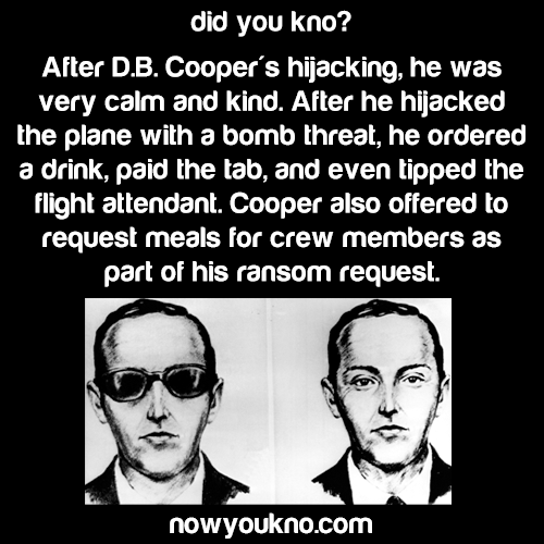 "D.B. Cooper was ""calm and kind"""