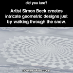 Artist creates designs by walking through the snow