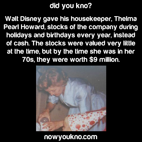 Walt Disney's made his housekeeper a millionaire