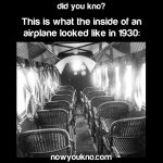 The inside of an airplane in 1930