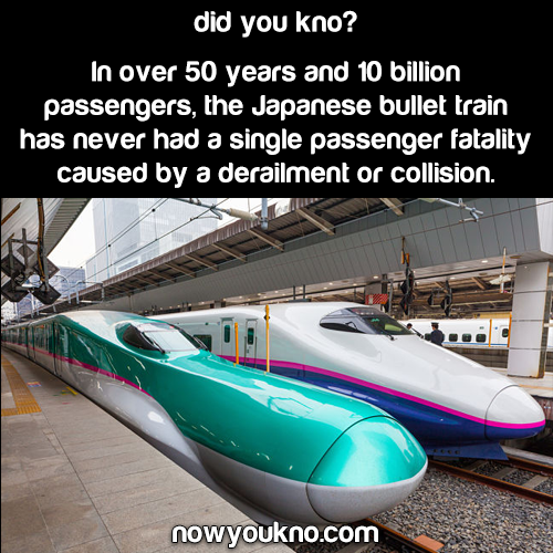 The Japanese Bullet train has never had a fatality
