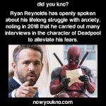 How Ryan Reynolds overcomes anxiety