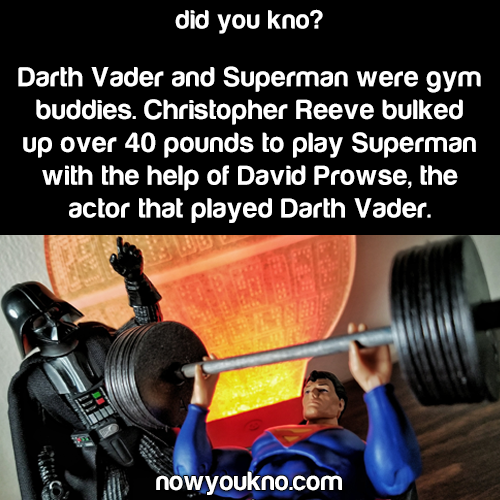 Superman and Darth Vader were gym buddies