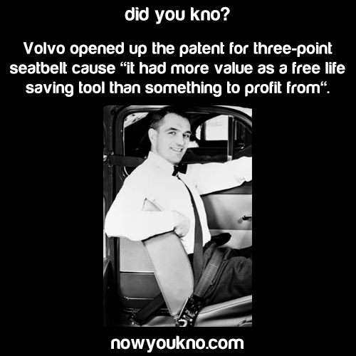 Volvo gave 3-point seatbelt to the world